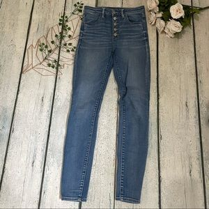 AEO 6 jeans super hi-rise jeggings button fly blue